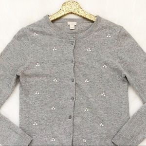 J. Crew Factory Embellished Caryn Cardigan Sweater